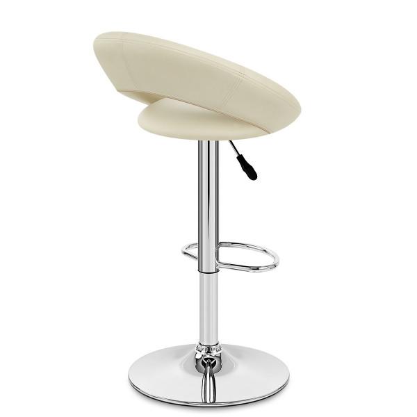 Chaise de Bar Faux Cuir Chrome - Crescent Matelassé Crème