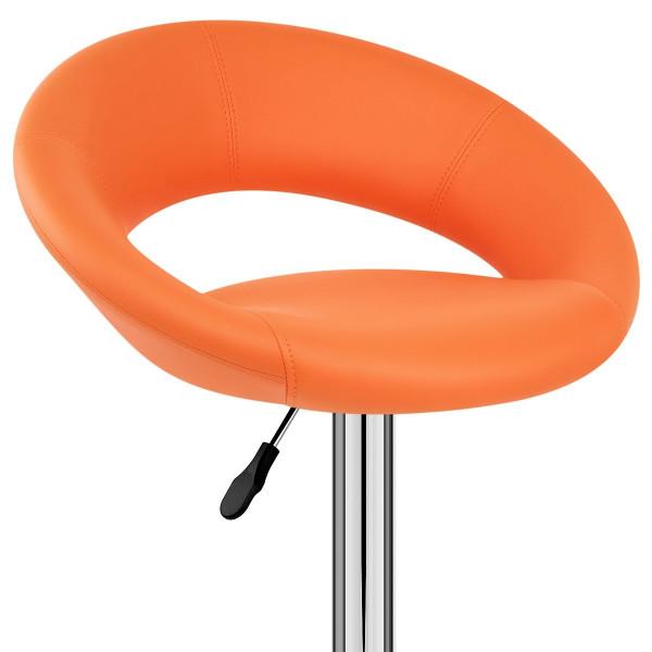 Chaise de Bar Faux Cuir Chrome - Crescent Matelassé Orange