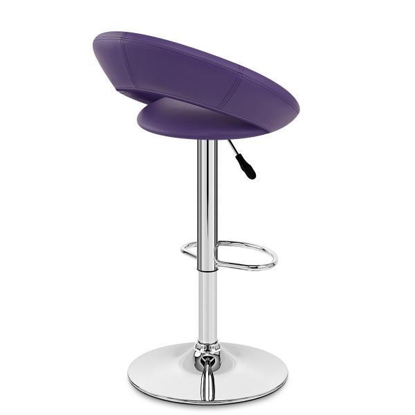 Chaise de Bar Faux Cuir Chrome - Crescent Matelassé Violet