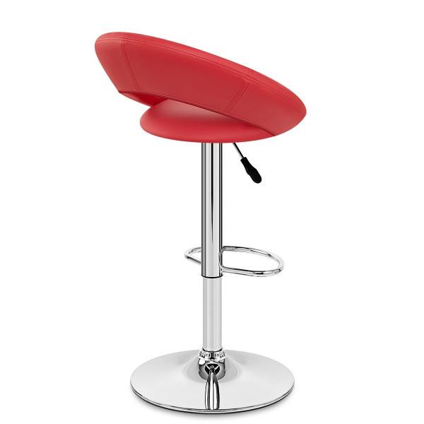 Chaise de Bar Faux Cuir Chrome - Crescent Matelassé Rouge