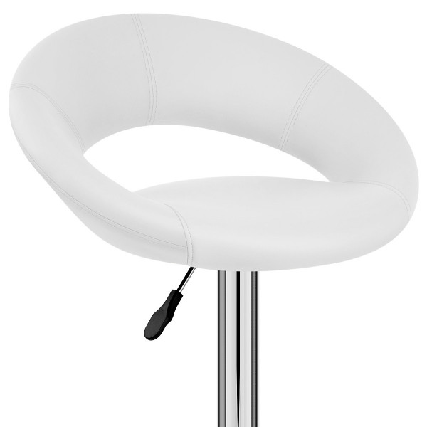 Chaise de Bar Faux Cuir Chrome - Crescent Matelassé Blanc