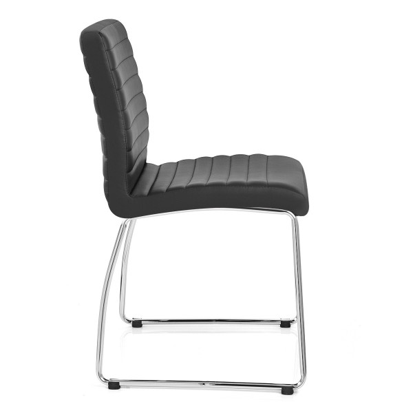 Chaise Faux Cuir Chrome - Panache Noir