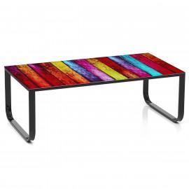 Deux tables en bois cosmos monde du tabouret for Table basse rainbow