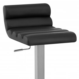 Chaise de Bar Cuir Chrome Brossé - Ridge