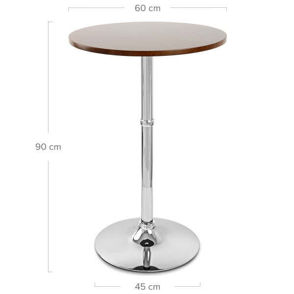 Table de Bar Chrome - Sovereign Ronde Noir