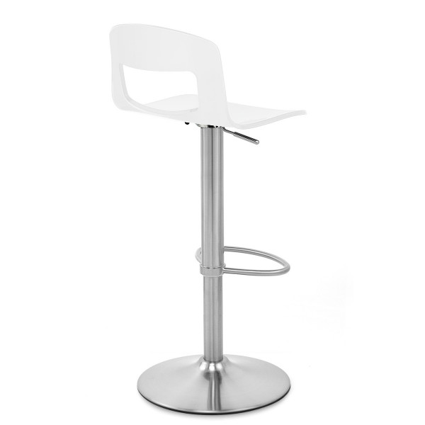 Chaise de Bar Plastique Chrome Brossé - Stardust Blanc