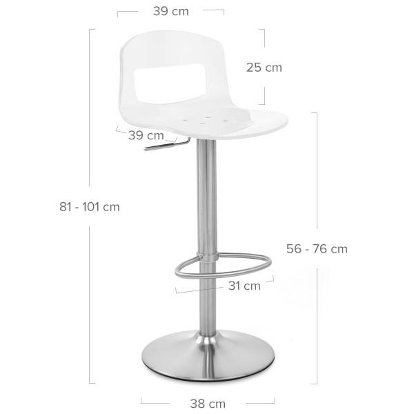 Chaise de Bar Plastique Chrome Brossé - Stardust Blanc
