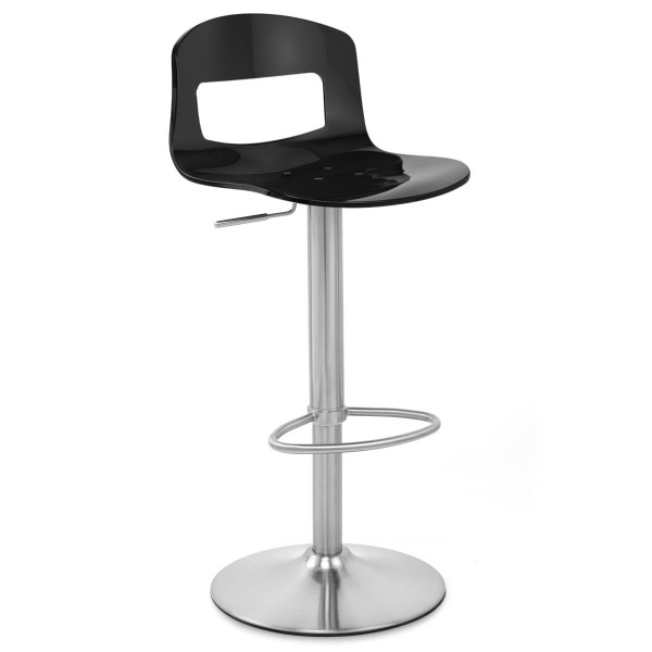 Chaise de Bar Plastique Chrome Brossé - Stardust Noir