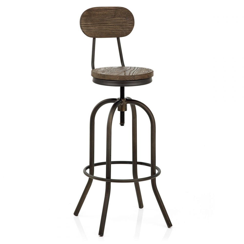 tabouret de bar bois fonc vintage swivel monde du. Black Bedroom Furniture Sets. Home Design Ideas