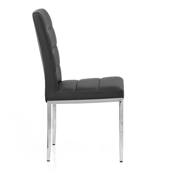Chaise Faux Cuir Chrome - Taurus Noir
