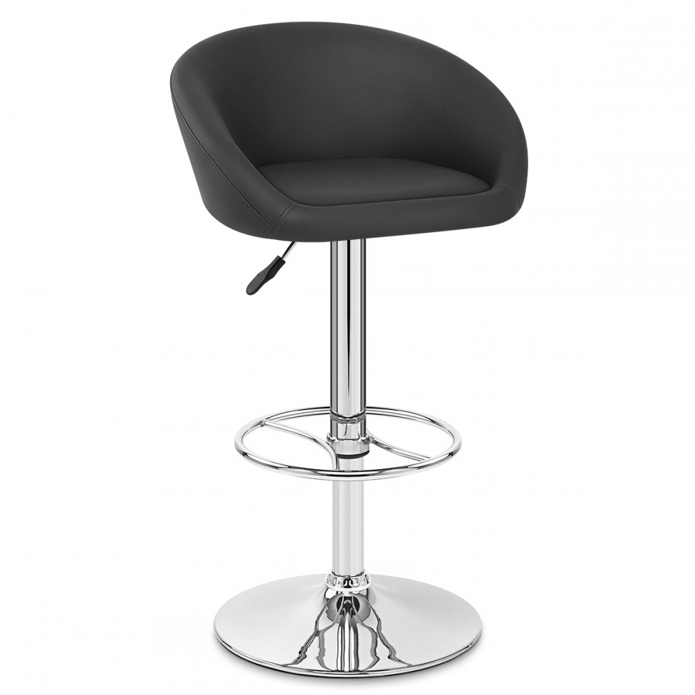 tabouret de bar cuir chrome zenith monde du tabouret. Black Bedroom Furniture Sets. Home Design Ideas