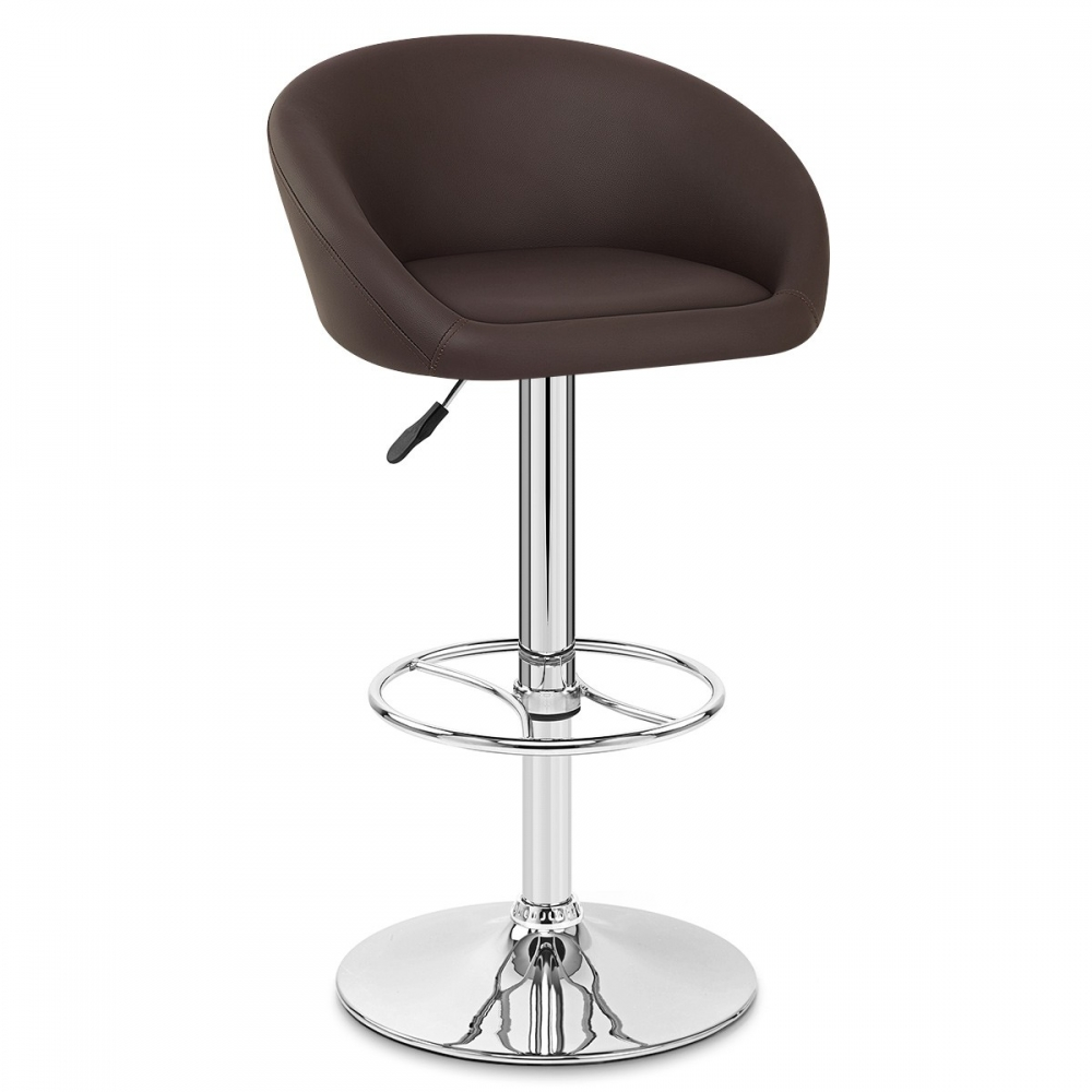 Tabouret de bar cuir chrome zenith monde du tabouret for Chaise de bar ajustable