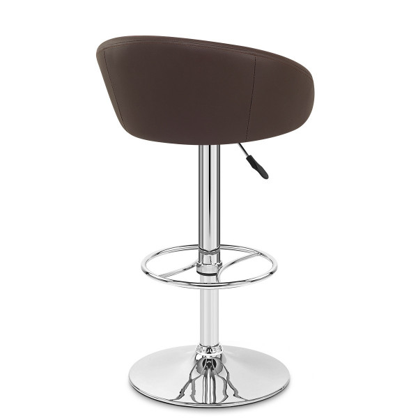 Chaise de Bar Cuir Chrome - Zenith Marron