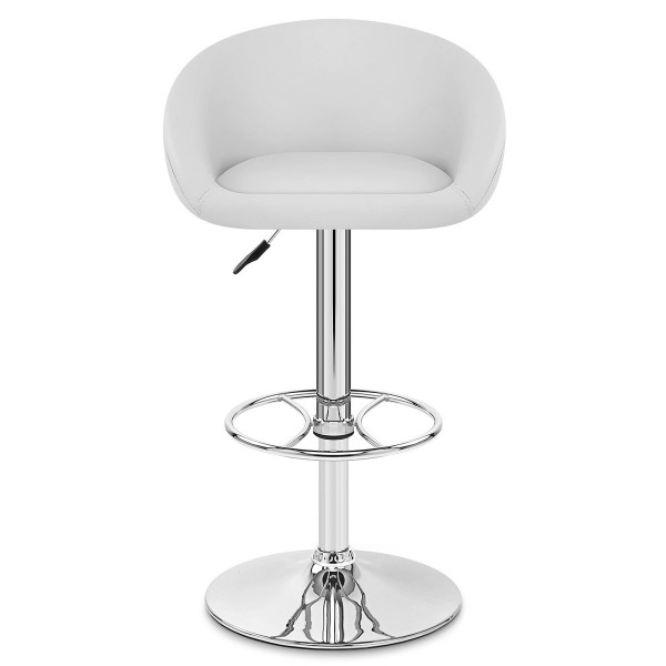 Chaise de Bar Cuir Chrome - Zenith Blanc