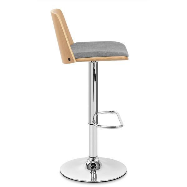 Chaise de Bar Bois Tissu - Crest Gris