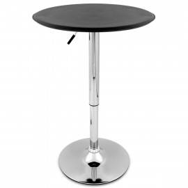 Table de Bar Faux Cuir Chrome - Donna Noir