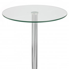 Table de Bar Chrome - Vetro Ronde Verre Transparent