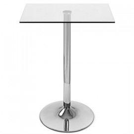 Table de Bar Chrome - Vetro Carrée Verre Transparent