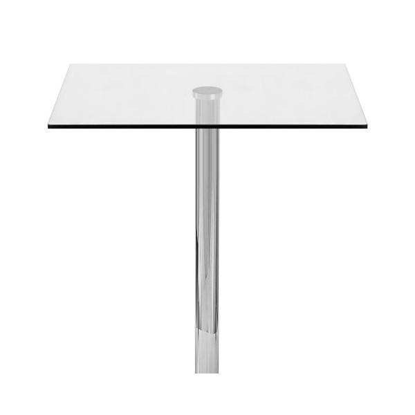 Table de Bar Chrome - Vetro Carrée Verre Transparent