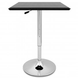 Table de Bar Faux Cuir Chrome - Rebecca Noir