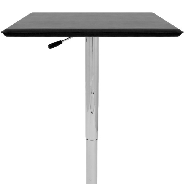 Table de Bar Faux Cuir Chrome - Rebecca Noir