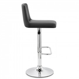 Chaise de Bar Faux Cuir Chrome - Plaza