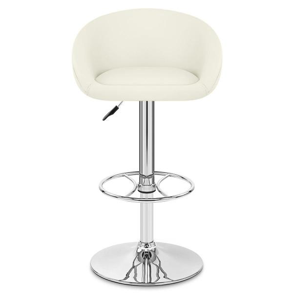 Chaise de Bar Cuir Chrome - Zenith Crème