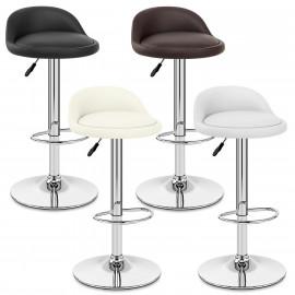 chaise de bar cuir chrome lulu - Tabouret De Bar En Cuir