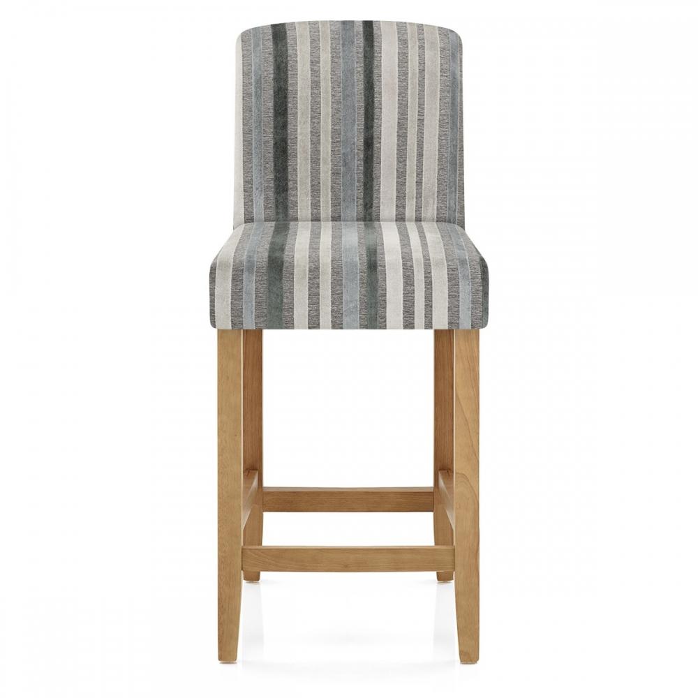 chaise de bar bois velours carter ray gris et bleu monde du tabouret. Black Bedroom Furniture Sets. Home Design Ideas