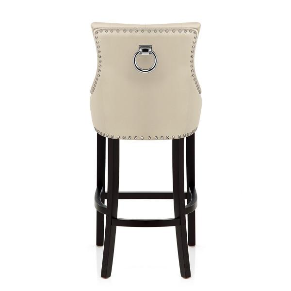 Chaise de Bar Bois Cuir Croûté - Ascot Crème