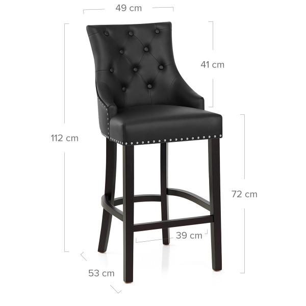 Chaise de Bar Bois Cuir Croûté - Ascot Noir