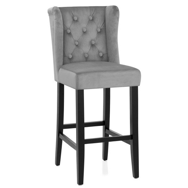 Chaise de Bar Velours - Pemberley Gris