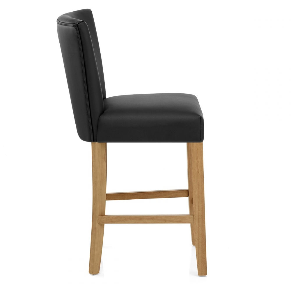 le tabouret de bar harrow est en bois et simili cuir. Black Bedroom Furniture Sets. Home Design Ideas