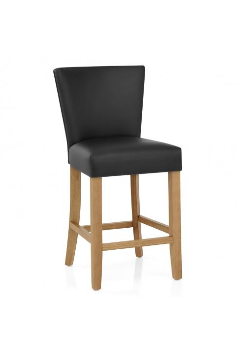 le tabouret de bar harrow est en bois et simili cuir. Black Bedroom Furniture Sets. Home Design Ideas