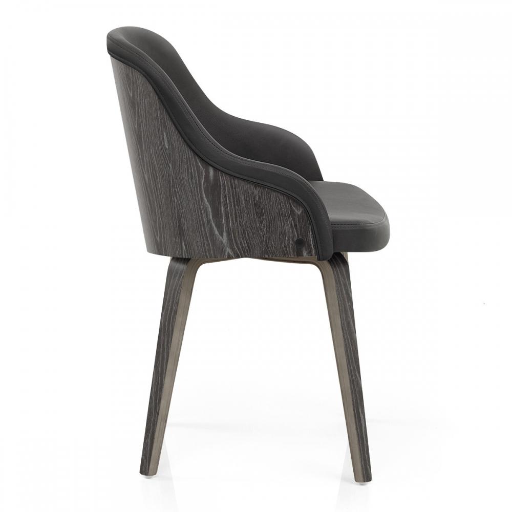 Chaise faux cuir et bois fusion monde du tabouret for Chaise bois gris