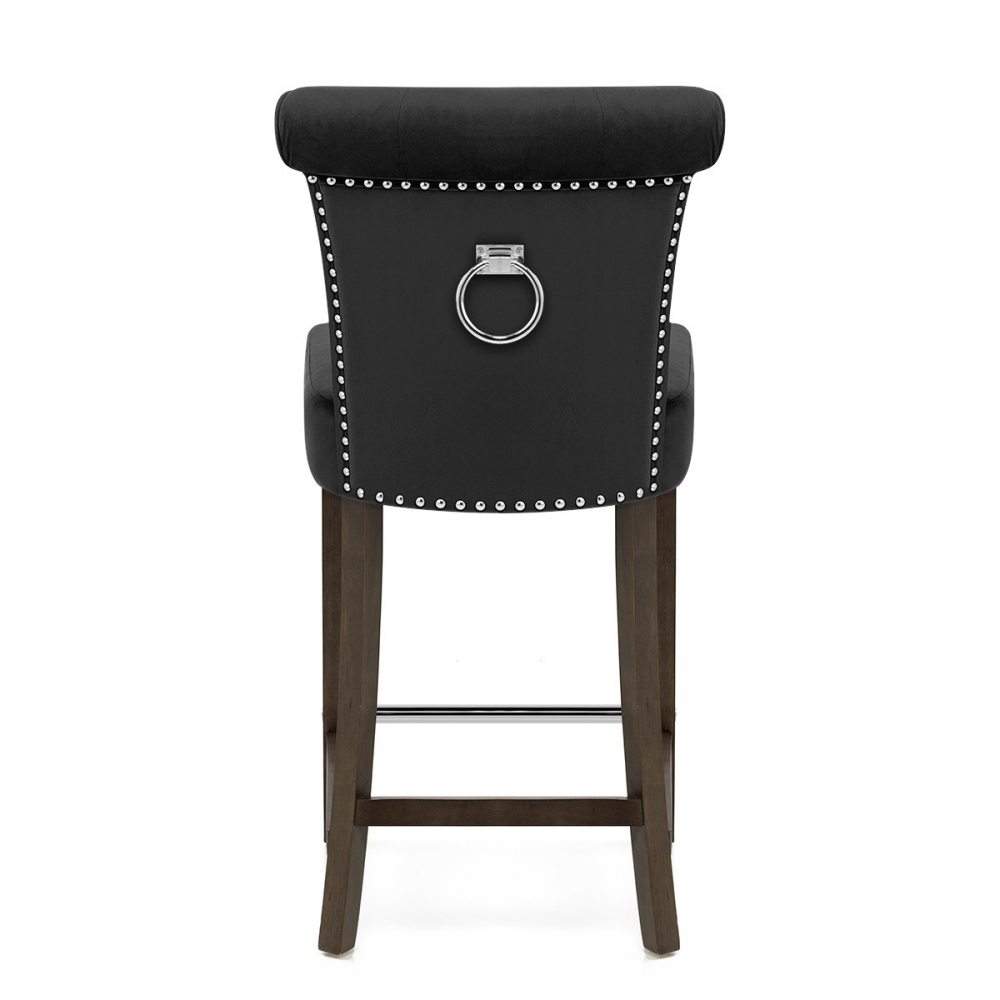 tabouret de bar bois velours carlton monde du tabouret. Black Bedroom Furniture Sets. Home Design Ideas