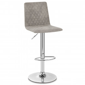 Chaise De Bar Chrome Simili Daim