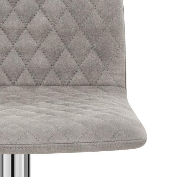 Chaise de bar Chrome Simili Daim - Atlanta Gris