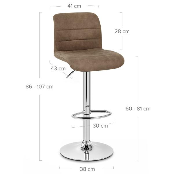 Chaise de bar faux daim - Destiny Marron