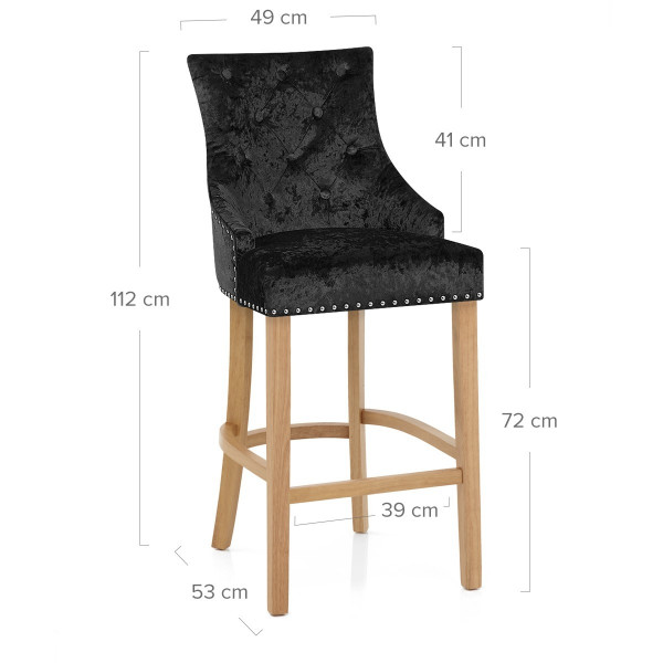 Chaise de Bar Chêne Velours - Ascot Noir