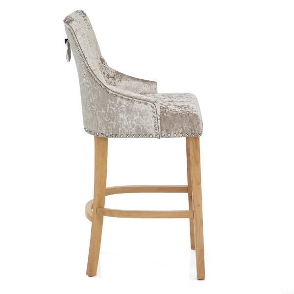 Chaise de Bar Chêne Velours - Ascot Taupe
