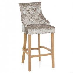 Chaise de Bar Chêne Velours - Ascot