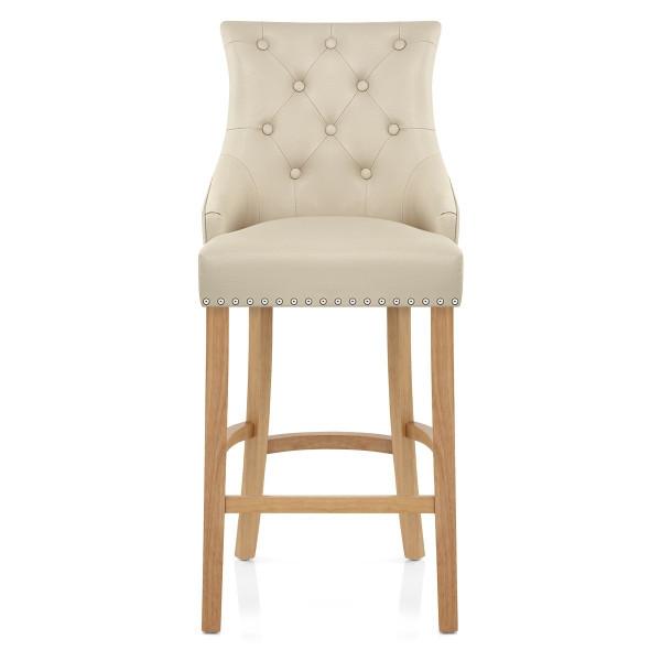 Chaise de bar Cuir Crouté Chêne - Ascot Crème