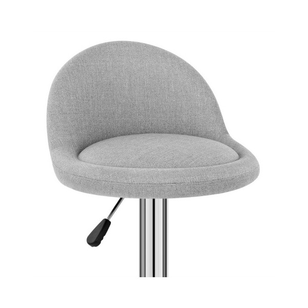 Chaise de Bar Chrome Tissu - Glee Gris