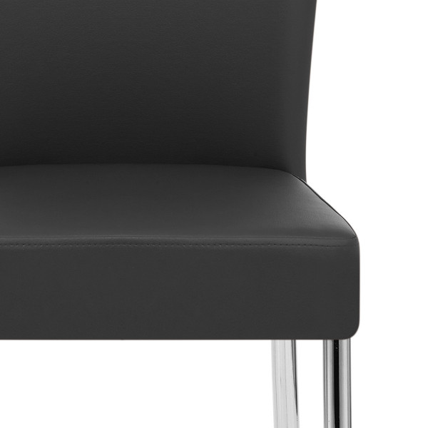 Chaise Faux Cuir Chrome - Picasso Noir