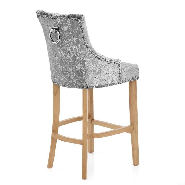 Chaise de Bar Chêne Velours - Ascot Gris