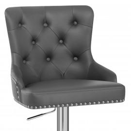 Chaise de Bar Faux Cuir Chrome - Manor