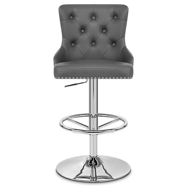 Chaise de Bar Faux Cuir Chrome - Manor Gris