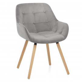 Chaise Velours Bois - Harris Gris