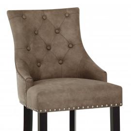 Chaise de Bar Bois Faux Cuir - Ascot Antique
